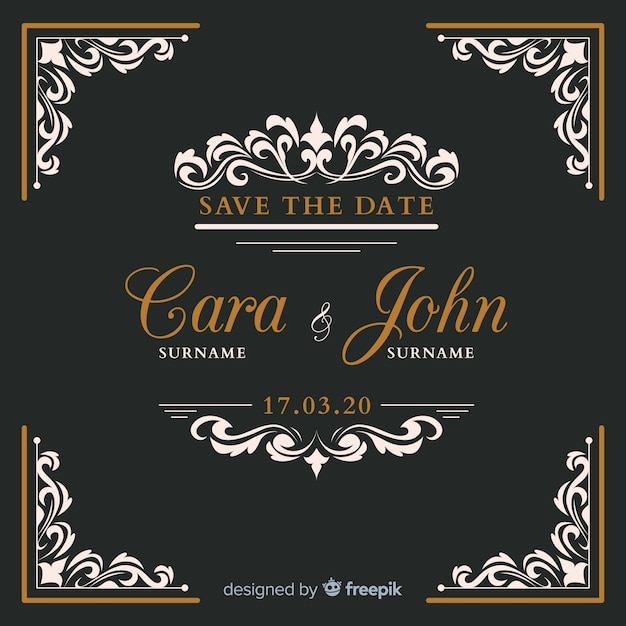 Black ornamental wedding invitation Free Vector