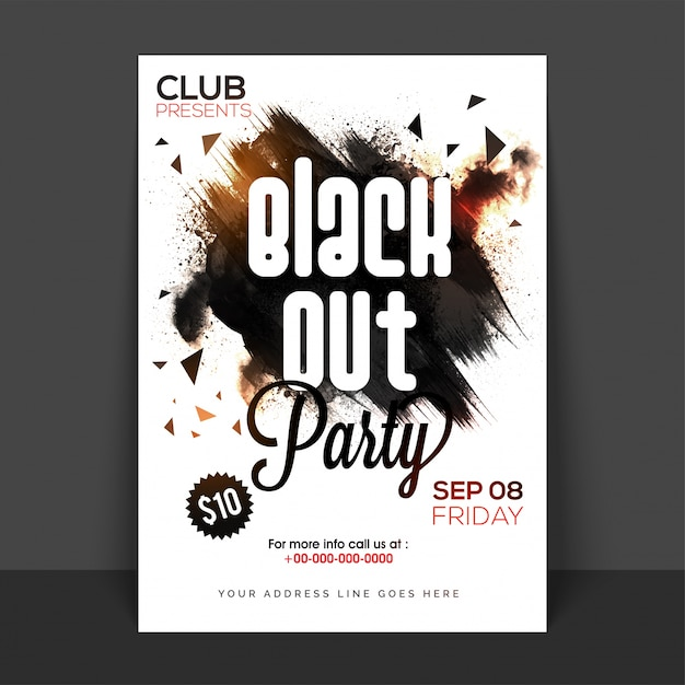 Black out party poster, banner or flyer with abstract brush strokes. Free Vector