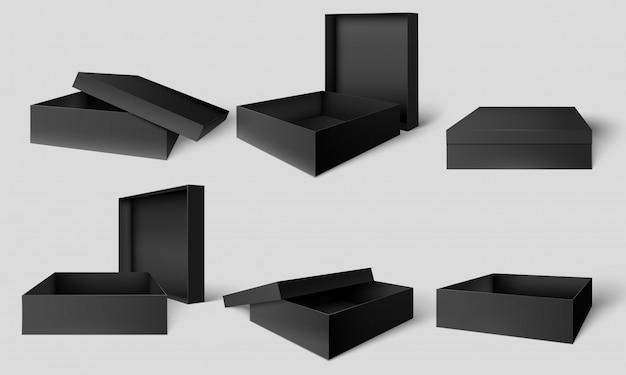 검은 포장 상자. 열리고 닫힌 어두운 상자, 골판지 패키지 모형 템플릿 벡터 일러스트 레이 션 세트 프리미엄 벡터