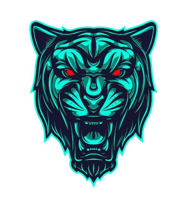 Black panther head mascot logo Premium Vector