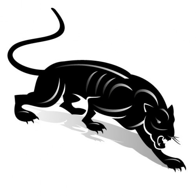 black panther with simple lines on white background vector free