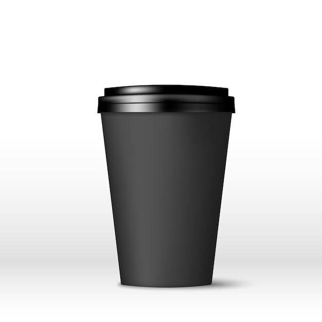 Черная бумажная кофейная чашка с крышкой. Premium векторы