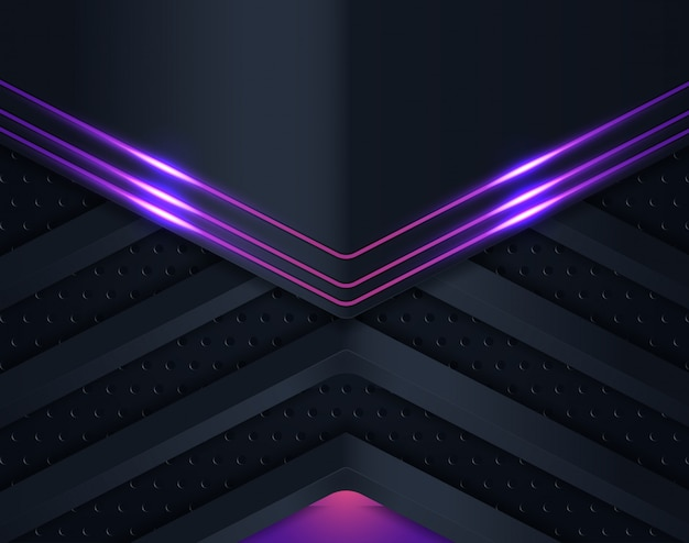 Black paper cut background with violet shining Premium Vector