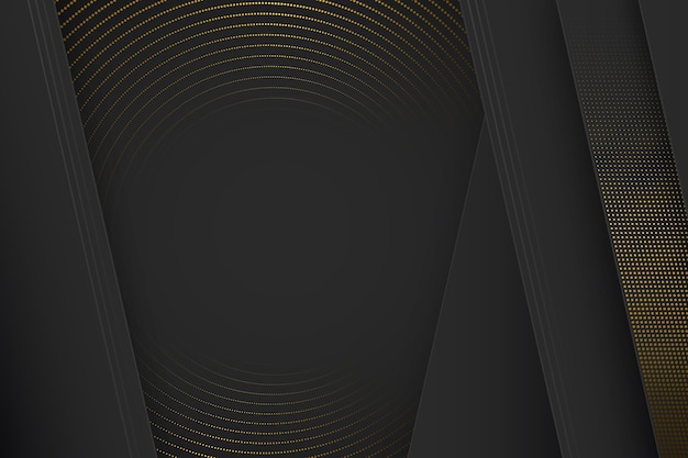 Black paper cut shapes background with halftone effect Free Vector