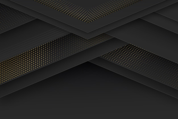 Black paper cut shapes wallpaper with halftone effect Free Vector