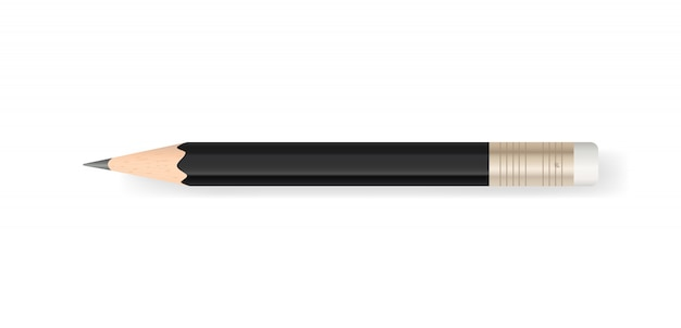 Black pencil on white background with soft shadow. Premium Vector