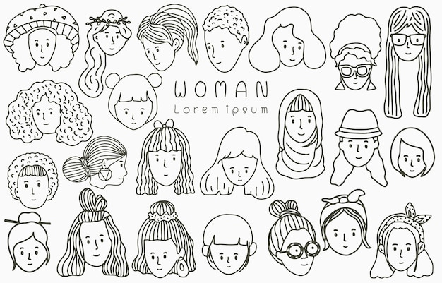 Black people line collection with woman,female,girl,people.vector illustration for icon,logo,sticker,printable and tattoo Premium Vector