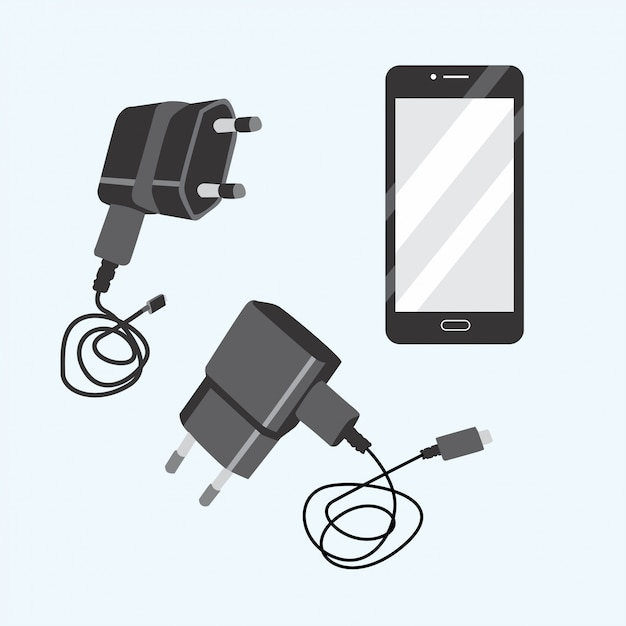 Black phone and charger set Premium Vector