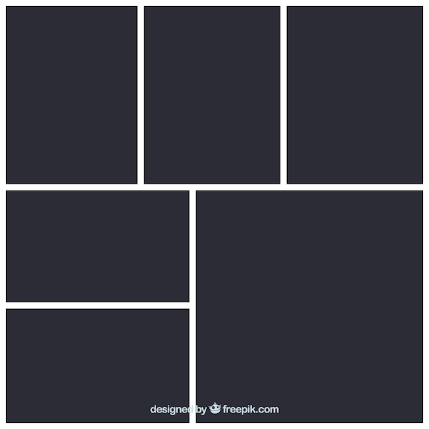 Black photo frame collage template Free Vector
