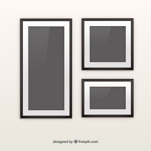 Black photo frame collage with flat design Vector | Free Download