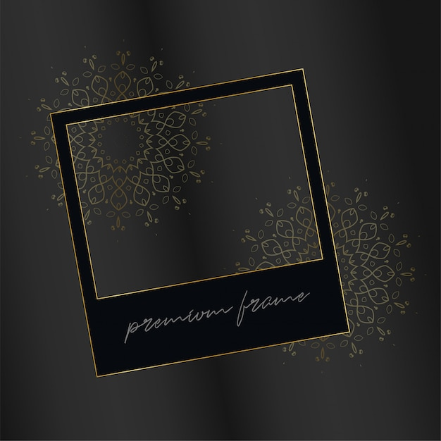 Black photo frame with decorative golden elements Free Vector