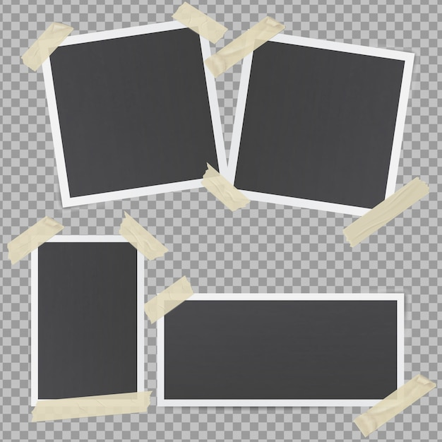 Black photo frames glued with transparent adhesive tape Premium Vector