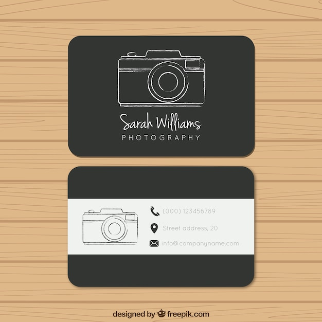 Black photography business card Vector