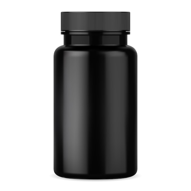 Premium Vector | Black pill bottle. supplement tablet container