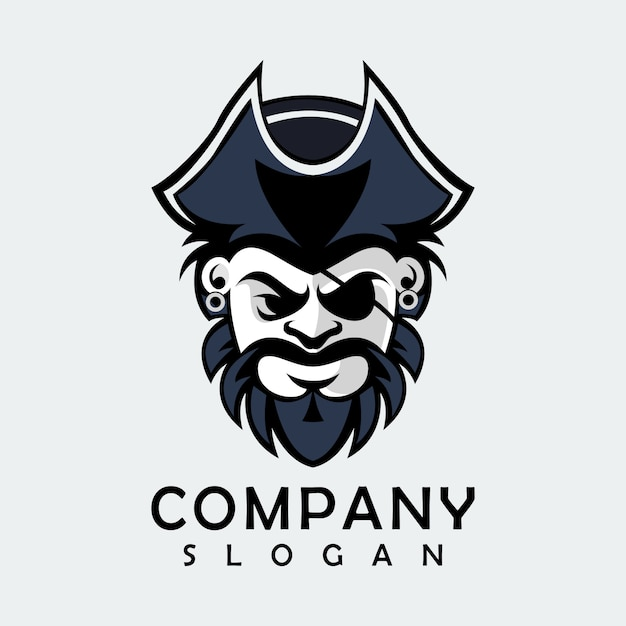 Black pirate logo Premium Vector