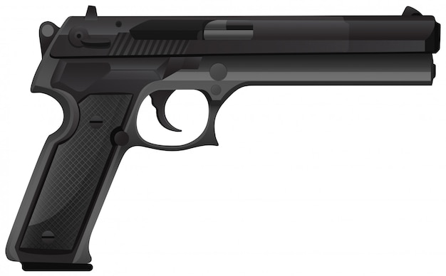Black pistol on white Free Vector