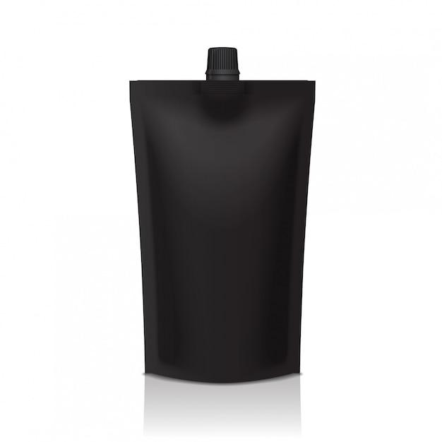 黒いプラスチック製のdoypackは、注ぎ口付きポーチを立てます。食べ物や飲み物の柔軟な包装 Premiumベクター