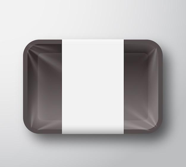 투명 셀로판 커버와 명확한 흰색 라벨 템플릿 검은 플라스틱 음식 트레이 용기. 프리미엄 벡터