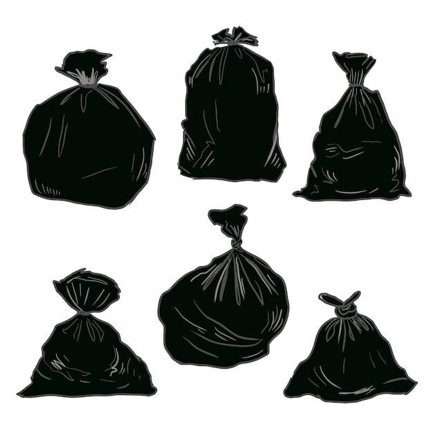 Black plastic trash Premium Vector