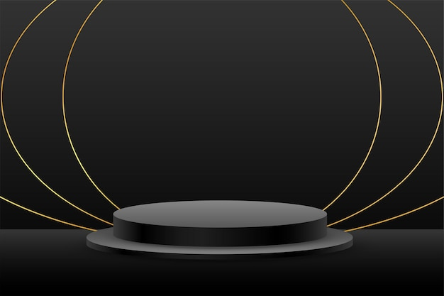 Черный подиум дисплей продукта фон с золотыми линиями Бесплатные векторы