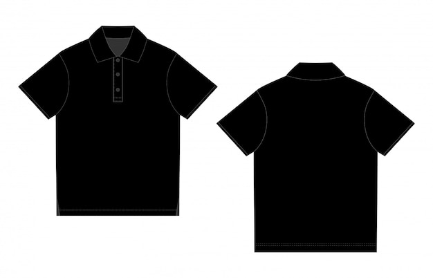 Black polo t-shirt design. front and back vector. technical sketch unisex polo t shirt Premium Vector