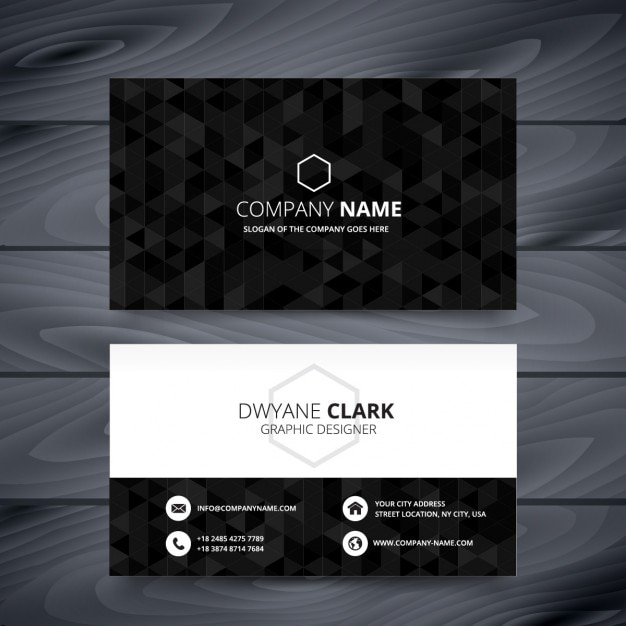 Black polygonal business card