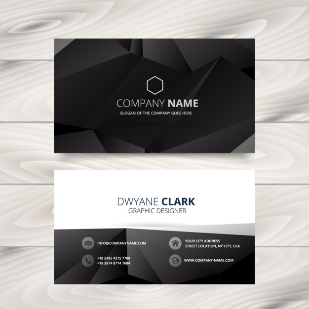 Black polygonal business card vector free download black polygonal business card free vector reheart Gallery