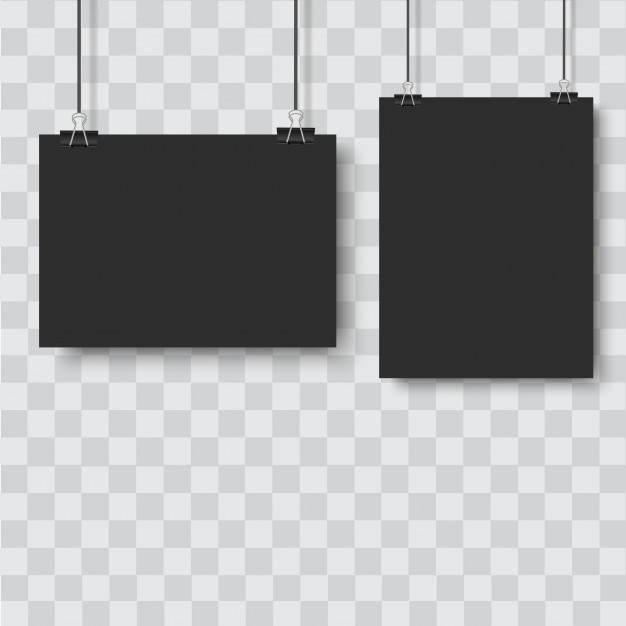 Black poster hanging with binder on transparent background Premium Vector