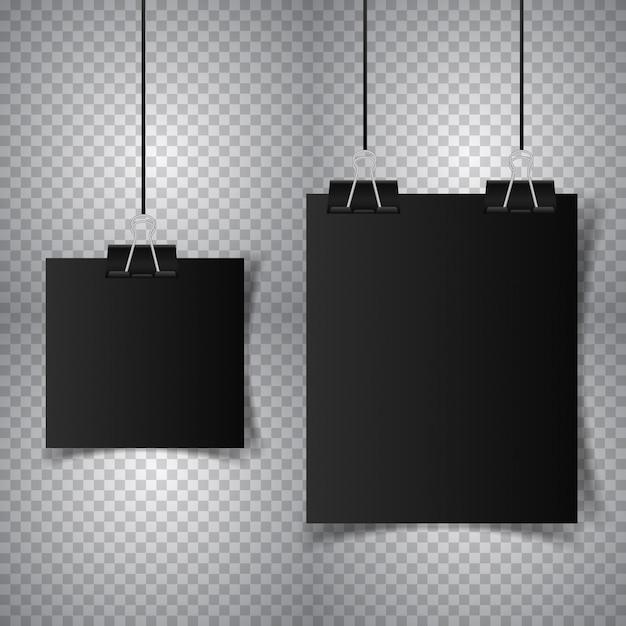 Черный плакат, висящий со связующим Premium векторы