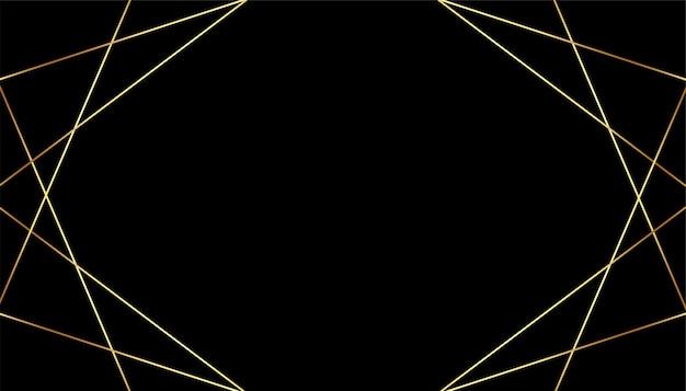 Sfondo nero premium con linee geometriche dorate Vettore gratuito