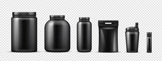 黒タンパク質ボトルのモックアップ Premiumベクター
