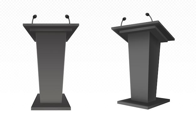 Black pulpit, podium or tribune, rostrum stand Free Vector