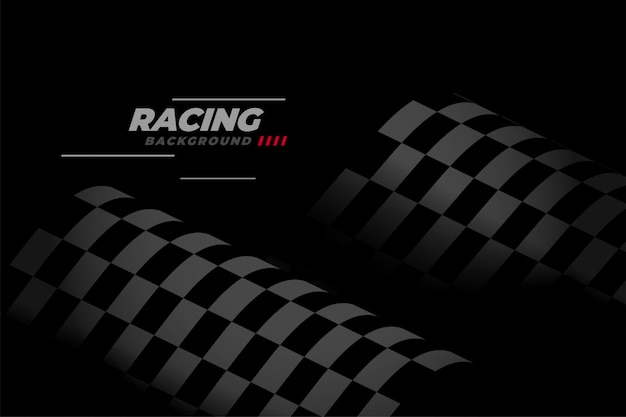 Black racing background with checkered flag Free Vector