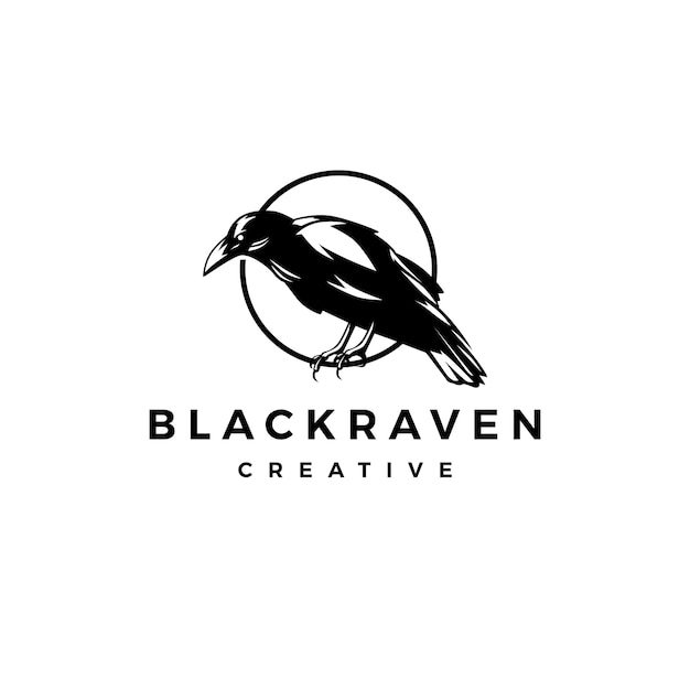 Black raven crow logo vector icon illustration Premium Vector