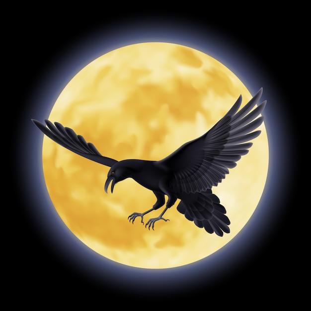 Black raven Premium Vector