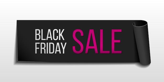 Черная реалистичная изогнутая бумажная баннерная лента для супер распродажи черной пятницы Premium векторы