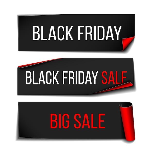 Черная реалистичная изогнутая бумажная баннерная лента для супер распродажи черной пятницы. Premium векторы