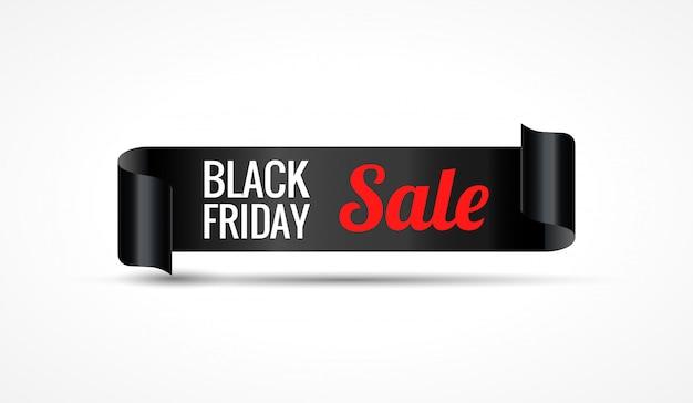 Black realistic curved paper ribbon banner Premium Vector