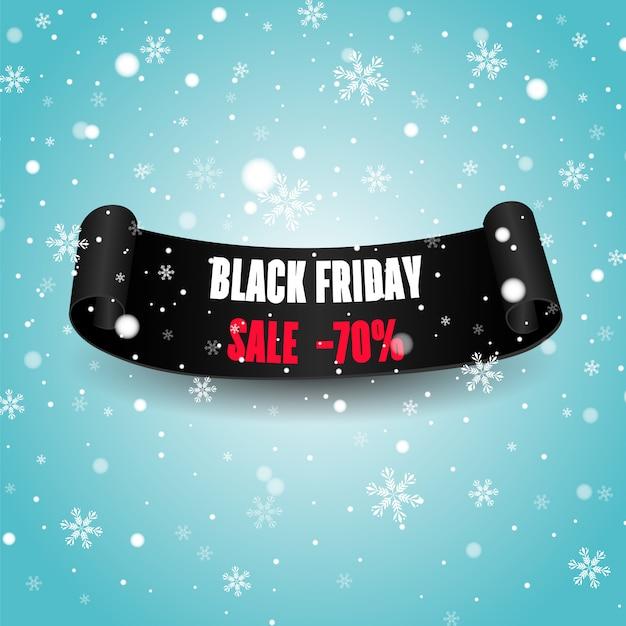 Черный реалистичный изогнутый бумажный свиток. черная пятница продажа баннер. Premium векторы