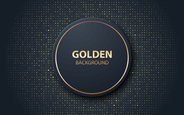 Black realistic decoration circle shape with gold glitters Premium Vector