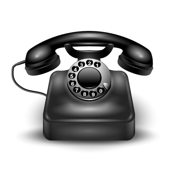 Black realistic retro dial phone wired and landline isolated and with shadows Free Vector