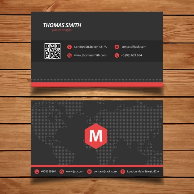 Black And Red Business Card Template Vector Free Download