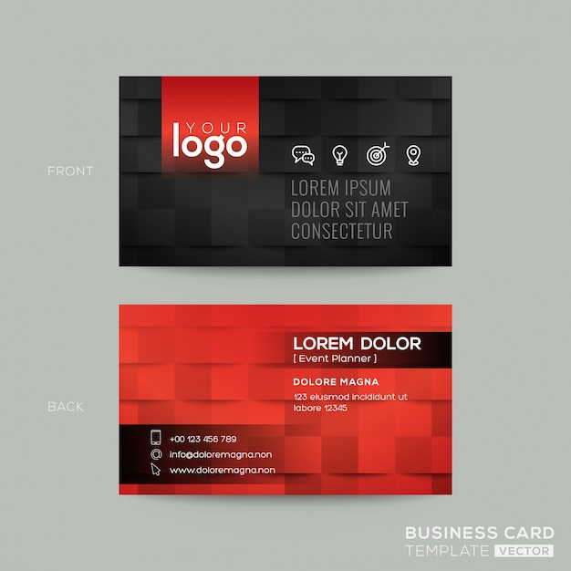 Black And Red Business Card Vector Free Download