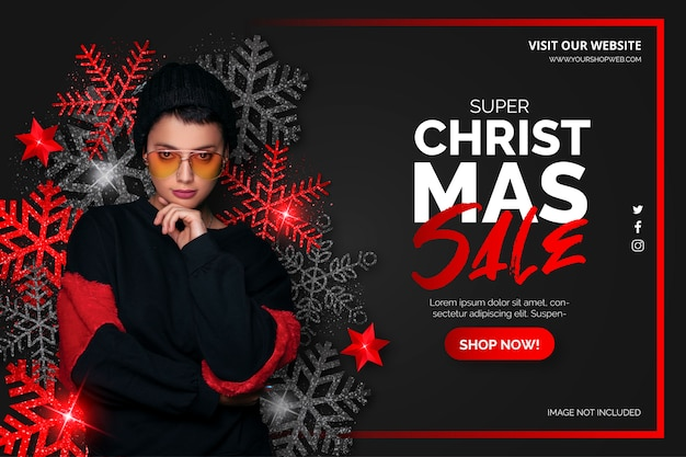 Black and red christmas sale banner Free Vector
