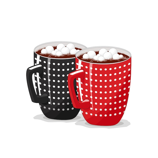 Black, red cup on an isolated white background. coffee, cocoa, cappuccino. good morning. christmas. Premium Vector