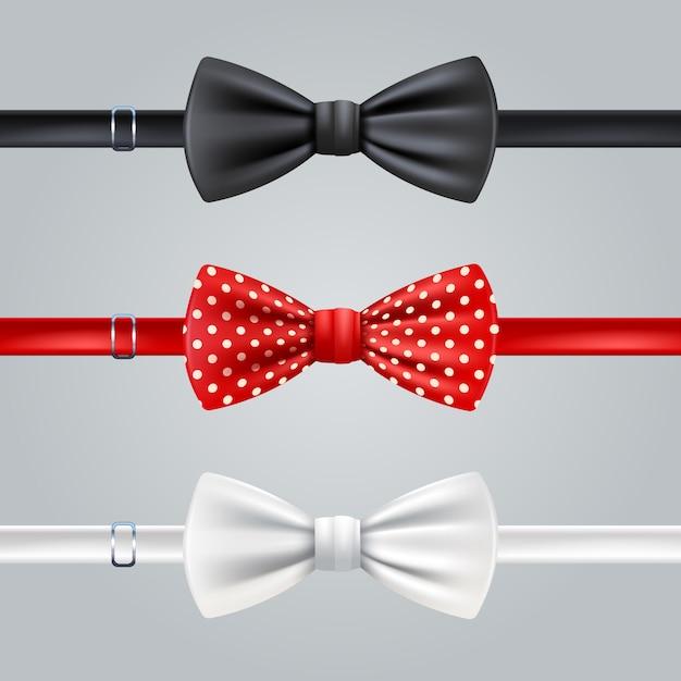 Set realistico di cravatte a fiocco rosso e bianco rosso nero Vettore gratuito