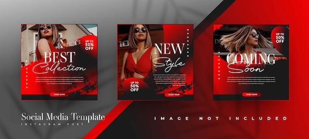 Modelli di post sui social media di vendita di moda in nero e rosso Vettore gratuito