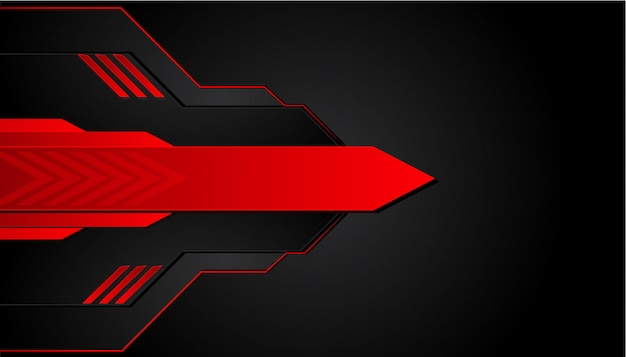 Black and red metal background. vector metallic banner. abstract technology background Premium Vector