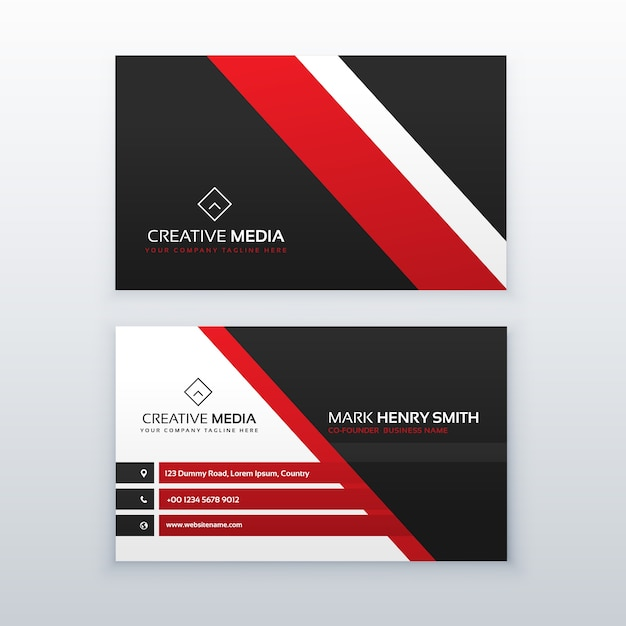 Black And Red Minimal Business Card Design Vector Free Download