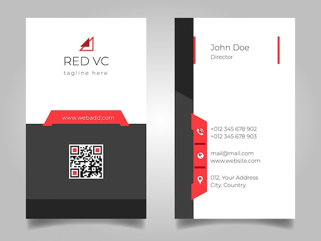 Black red vertical business card Premium Vector